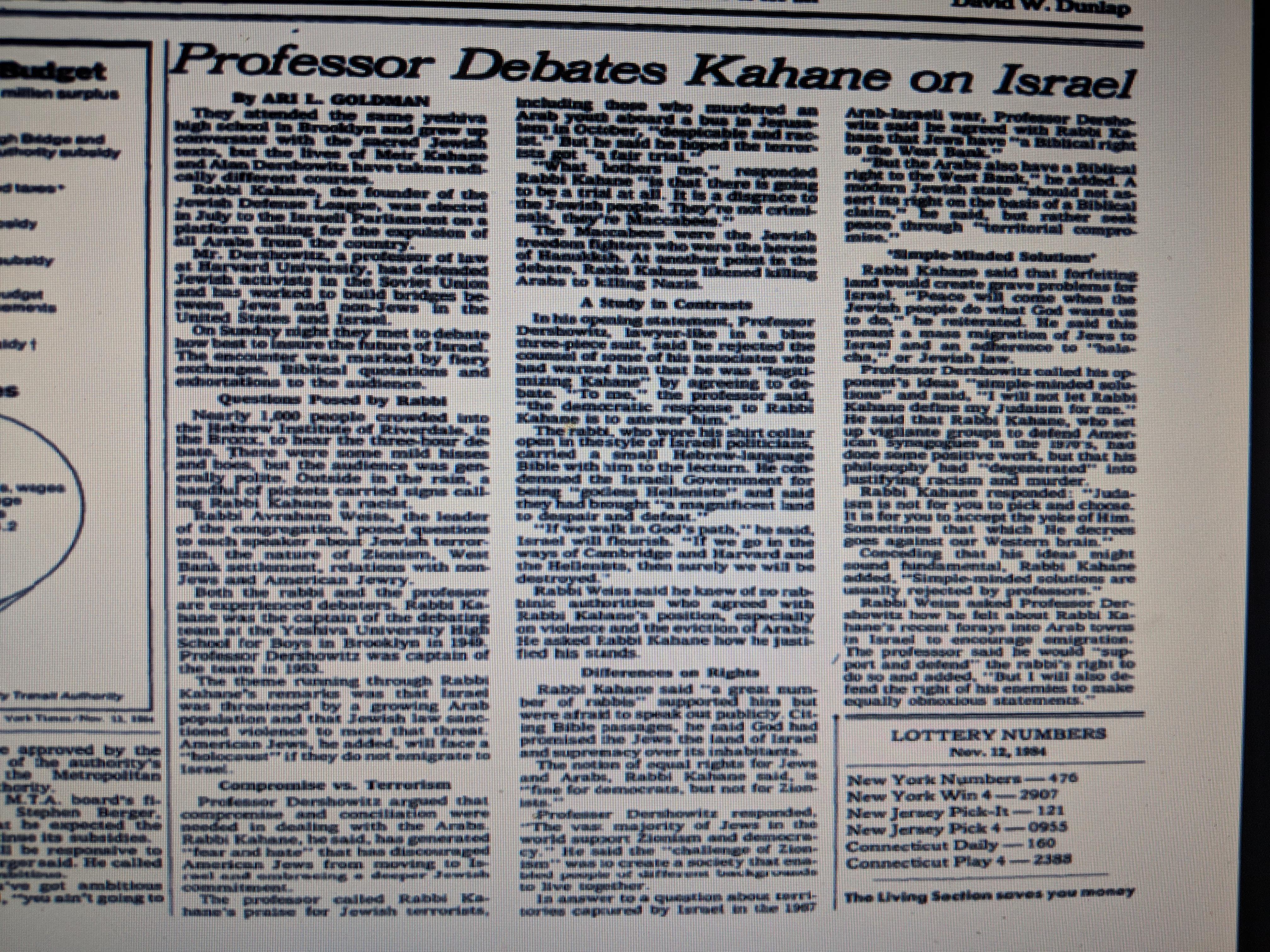 NYT-Kahane-Dershowitz